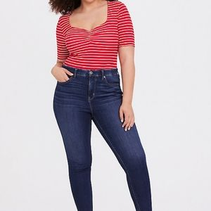 Torrid | RED STRIPE RUCHED SWEETHEART FOXY TEE